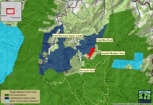 Map of Sorrells Meadow and Cold Mountain Game Lands, Pisgah National Forest
