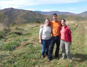 SAHC staff Caitlin, William, and Michelle atop Sorrells Meadow