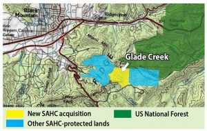 Map of Glade Creek location near Black Mountain