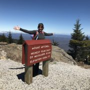 Hiker atop Mt Mitchell