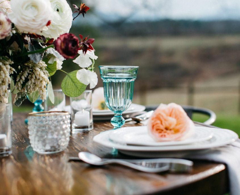 Table setting for farm wedding