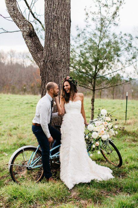 farm wedding man woman and bike