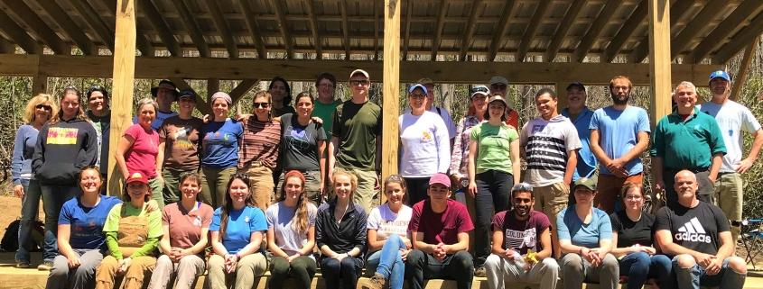 Volunteer group on Big Rock Creek work day