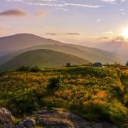 Highlands of Roan sunset view over grassy balds