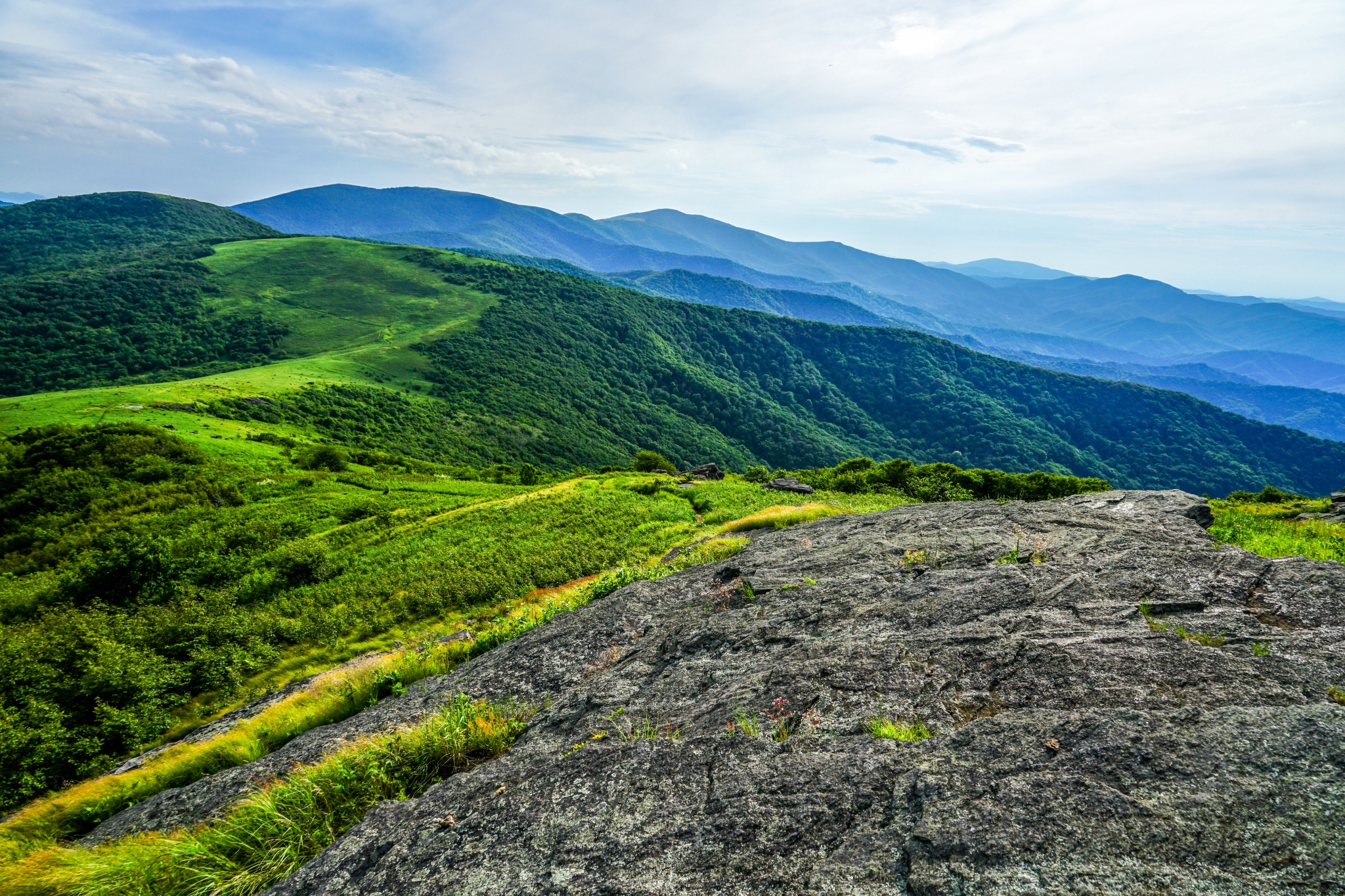 View of grassy balds and mountain ridges