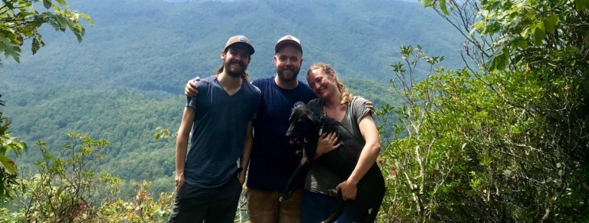 Sarge, Israel, Abby, and her puppy Prairie at Clawhammer's summit