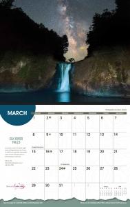 Waterfalls calendar page detail