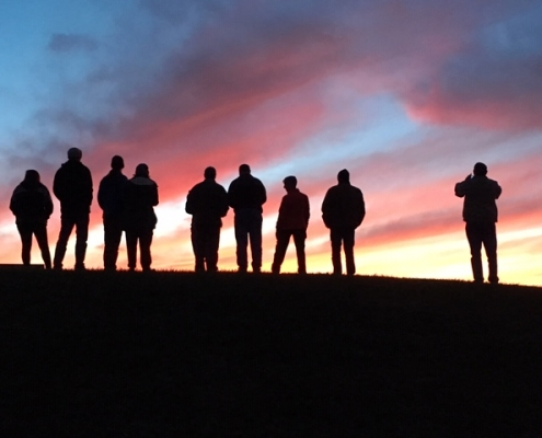Sunset photo of outing group