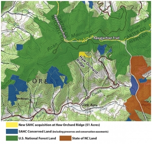 Haw Orchard Ridge and Roan Highlands map