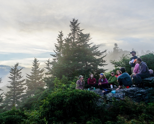 Camping group on mountaintop