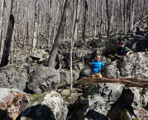 Staff in boulder fields at Gutches Creek