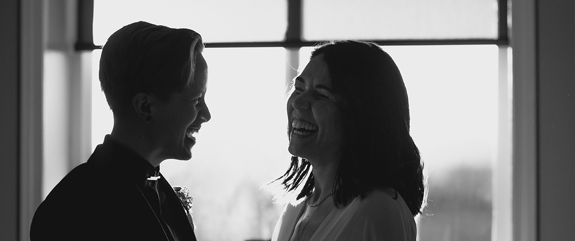 Rachael and Chelsea profile in black and white