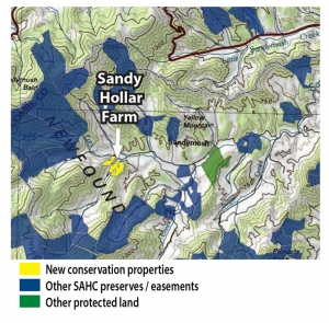 Map of Sandy Hollar Farms and other conserved land
