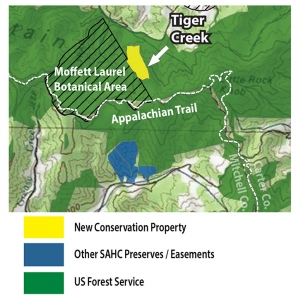 Map of Tiger Creek property near Appalachian Trail and surrounded by Cherokee National Forest