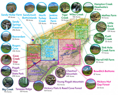 Map of SAHC conservation projects in 2020