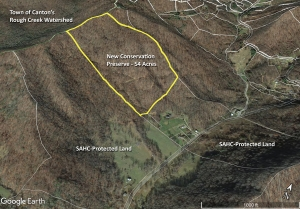 Google Earth image of 54-acre parcel on mountain slope