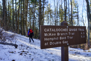 cataloochee Divide Trail sign