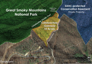 Google Earth image of Cataloochee Gateway