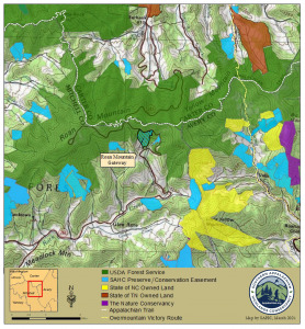Map of Roan Highlands, with conserved land and new Roan Mountain Gateway