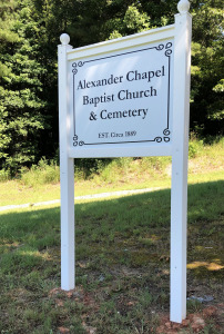 Front of Sign for Alexander Chapel Baptist Church